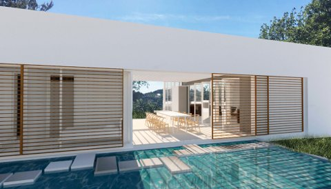 Vannspeil på den ene siden av hytta, og basseng på den andre, har arkitekten tegnet inn. Ill.: Rune Breili