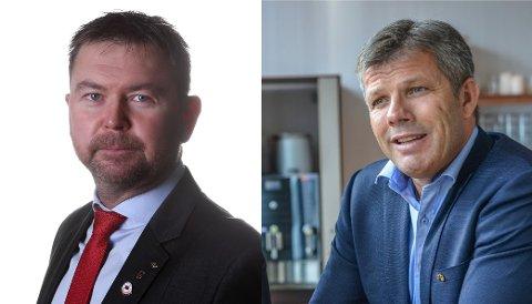 Per Christian Jacobsen (t.v.), regionleder i Fellesforbundet,  og Bjørnar Skjæran, nestleder i Ap.