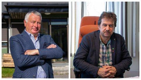 VERTSORDFØRERE: Peter Talseth (Sp) i Alstahaug og Ivan Haugland (Ap) står fortsatt samlet i sykehussaken, til tross for at det ligger an til en drakamp mellom kommunene om hvor sykehuset endelig plasseres.