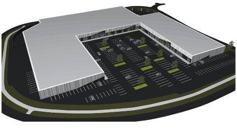 DEN SISTE BRIKKEN: XXL kan bli den siste leietakeren i handelsbygget. 270 parkeringsplasser er planlagt utenfor den nye delen av handelsparken. Skisse: Halvorsen & Reine