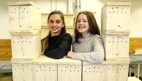 HUMLESJEFER: Dina Zagragja (t.v.) og Camilla Hellum Finstad er to av fem i humlehotellgruppa på Smestad skole. Her med deler av denne ukas produksjon. Alle foto: Rune Fjellvang
