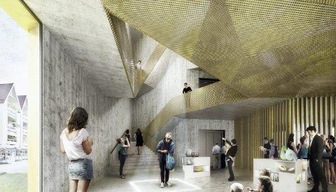 Spennende interiør: Utvendig ligner Akershus kunstsenter et kunstverk i seg selv. Men interiøret står heller ikke tilbake. Her er det spennende og utradisjonelle former, som vil gjøre det spennende å legge turen innom. Illustrasjon: Marco Boella/ Haugen/Zohar Arkitekter
