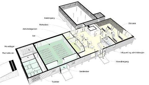 Slik blir det: Tegningen fra Enerhaugen Arkitektkontor viser 1. etasje i Kulturlåven. Den vil romme bibliotek, aktivitetskjøkken, møteplass og en sal. ILLUSTRASJON: ENERHAUGEN ARKITEKTER