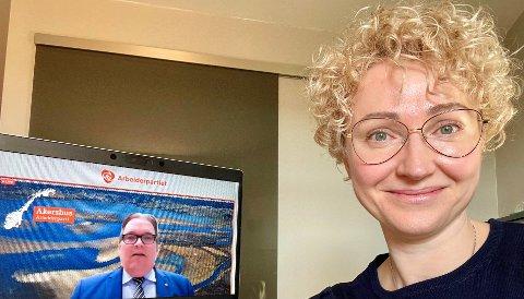DELEGAT: Anna Sandman deltar på Aps landsmøte fra sitt hjemmekontor på Ask.