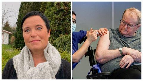VAKSINE: Tredje juledag ble sykehjemsbeboer Svein Andersen (67) i Oslo den første som ble vaksinert mot korona-viruset. Christine Berge har ansvaret for å koordinere vaksinasjonsarbeidet i Holmestrand kommune.