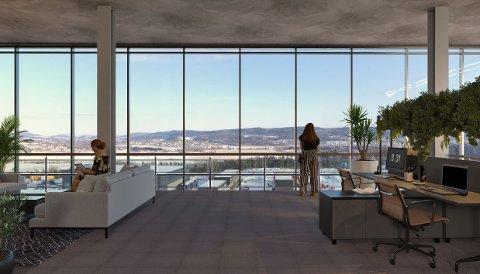 UTSIKT: Utbygger reklamerer med spektakulær utsikt fra kontordelen av det planlagte nybygget.