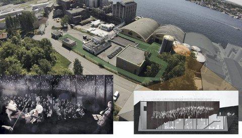 «Kulturlandsby»: Det aktuelle området i nord. Midtre hall mot vannet er i bruk, oransje viser mulig «amfi-tank» og grønt er gangareal.Illustrasjon: Næringsparken