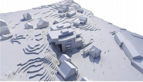 NYE BOLIGER: Slik tenker utbyggerne seg prosjektet i Nedre Movei 9. Lunden-senteret ses nede t.h. (Illustrasjon: Spir Arkitekter AS)