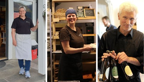 LOKALT OG GODT: (f.v) Eva Irene Nyløy (Lustrabui), Marianne Holme (Marianne Bakeri & Kafe) og Åge Eitungjerde (Ciderhuset/Balholm) er blant dei som kan melda om gode tal på utsal av lokalmat i år.