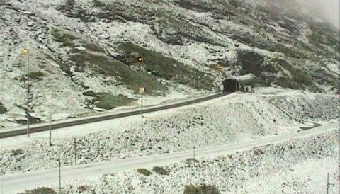 Slik så det ut på E134 over Haukelifjell fredag morgen. Foto: Statens vegvesen (webkamera)