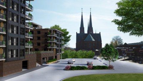 VED KIRKEN: Det nye leilighetsbygget skal ligge rett ved kirken. Noen mener det kan være problematisk.