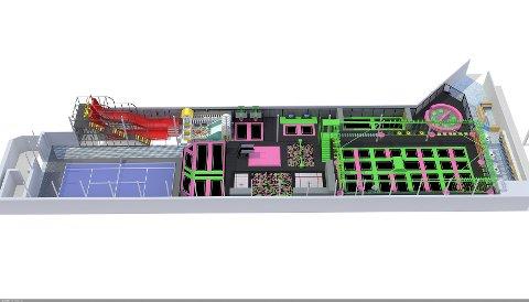 LEKEPARK: Trampolineparken vil også inneholde padeltennisbane, klatreløypa og andre installasjoner.