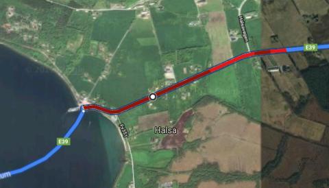 Google Maps kan fortelle hvor lang køen er. Den mørkerøde fargen indikerer at det går veldig langsomt.