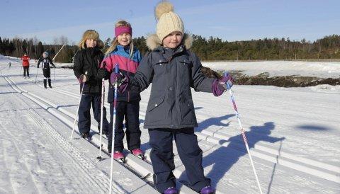 SKI OG PAUSER: Hannah Eftedal (6, forfra), Ingrid Aunemo Bringaker (7) og Emma Sofie Eftedal (8) fra Nøtterøy hadde det moro i Storås med skiturer og pauser. ALLE Foto: Ann Kristin Saastad