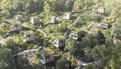 Hytter: De 16 fritidsboligene skal plasseres rundt et felles naturlandskap som knytter hyttene sammen. Illustrasjon: Spacegroup AS