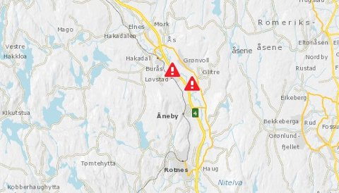 ARBEIDERINITTEDAL:Fra Statens vegvesens trafikkmeldingtjeneste i kart.