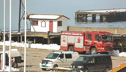 Det lot seg ikke gjøre for brannfolkene fra brannvakta i Vardenbakken å lokalisere noe særlig oljesøl ved Svestad brygge, som det ble meldt fra om fra fritidsdykkere lørdag ettermiddag. Foto: Staale Reier Guttormsen