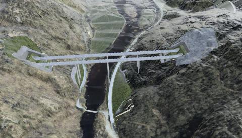 LYGNA: De nye broene over Lygna kommer rett ut og inn av tunneler på begge sider.