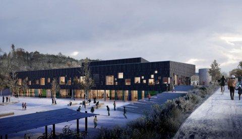 Til hausten står ein splitter ny skule ferdig i Alversund. No er kommunen på jakt etter eit namn til fleirbrukshallen. Illustrasjonsfoto: Constructa AS