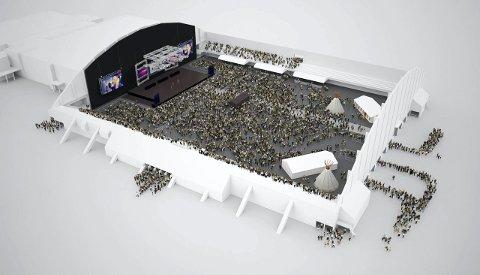 Storstue: Nordlandshallen har plass til nesten 20.000 mennesker hvis det bare er nok nødutganger. Nå planlegges det å utvide slik at hallen kan ta 10.000. Da vil hallen framstå slik. 3D-modell: mpDesign