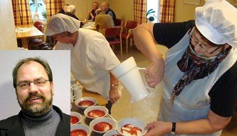 I Norge i dag har vi over 400 frivilligsentraler. De er alle organisert på ulik måte, men har til felles et mål om å fylle gapet mellom tilbudene fra offentlige og private organisasjoner. Bildet er fra en middagsservering på Skage frivillighetssentral. Innfelt er Oddbjørn Johansen, dosent ved Nord universitet