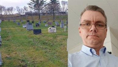 Sterke følelser: Kenneth Martini Hasselberg (40) sitter igjen med mange følelser etter at han nå har funnet ut hva som har skjedd med gravminnet til faren og bestefaren sin, som ble gravlagt på Bodø kirkegård.