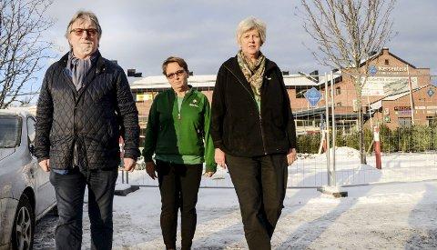 Bekymret: Varaordfører Ole Martin Kristiansen, butikksjef Kjersti Trøstheim og Runi Niemann hos Mester Grønn i Vikersund, frykter det går mot nedleggelse av blomsterbutikken, dersom ikke politikerne sier ja til å bygge på 150 kvadratmeter ved Nærsenteret i Vikersund.