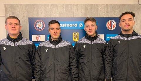 NYE ANSIKT: I sist veke var fire nye EIK-spelarar klare trening med EIK. Nysigneringane er, frå venstre, Matej Dekovic, Sivert Strangstad, Patrik Johanessen og David Paulmin.