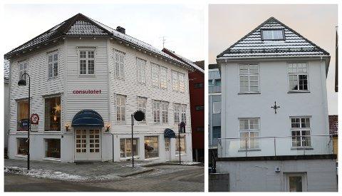 TIL SALS: Dei to bygardane Strandgata 31 og 29 blir no lagt ut for sal. Det er familien Jeppesen som eig dei.