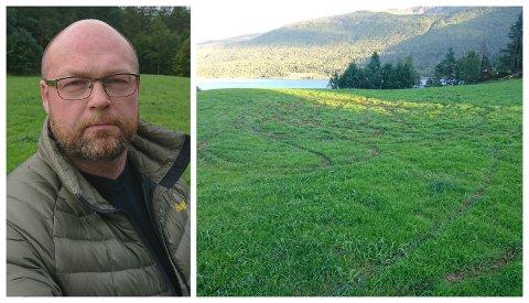 HÆRVERK: Slik såg marka til Inge Kjell Lindvik ut etter at nokon har brukt den som rallybane.