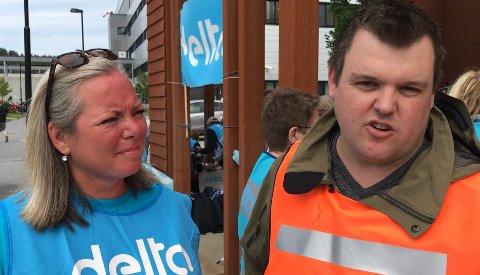 KAMPKLAR: Tone Lie Nilsen og Marius Bjørndalen, foretaktillitsvalgte og streikeledere i hhv. Delta og Fagforbundet