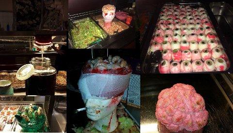 IKKE FOR SARTE SJELER: Et utvalg av maten som ble servert ved Politihøgskolens utdanningssenter på Halloween.