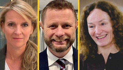 JOBB OG HYTTE: Helsetoppene Line Vold, Bent Høie og Camilla Stoltenberg legger frem sine påskeplaner.