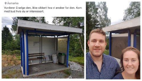 Det nederlandske samboerparet aner ikke om nordmenn kan være interessert i å kjøpe et busskur inkludert asfalten den sto på i Gamlevegen på Lillehammer. Men det skader ikke å finne det ut.