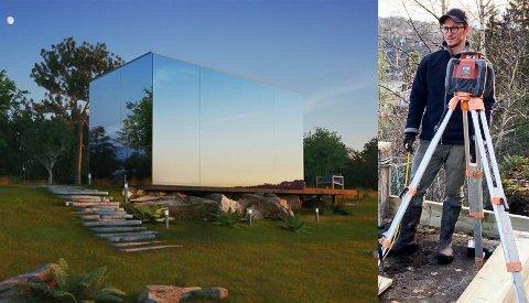 SPEILGLASS: Tre av fire vegger får speilglass på hytta Frederik I-Ivarson skal leie ut og leve av.
