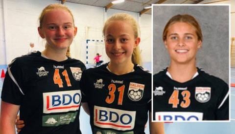 PÅ TALENTSAMLING: Sara Lauritzen (tv), Emilie Wibe og Synnøve Lind Edvardsen fra Halden Håndballforening er tatt ut regional talentsamling.