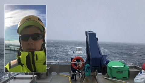TAUET I LAND: Dag Rune Lind tauet de russiske fisketuristene i land med arbeidsbåten Jens som tilhører Grieg Seafood. På bildet nærmer de seg Repvåg.