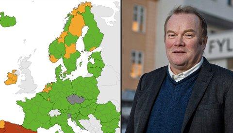 23 PROSENT AV LANDET: - Det er 900 kilometer til Øst-Finnmark, derfor kan man ikke stenge ned 23 prosent av Norge, sier fylkesrådsleder Bjørn Inge Mo om at regionen Troms og Finnmark har blitt oransje