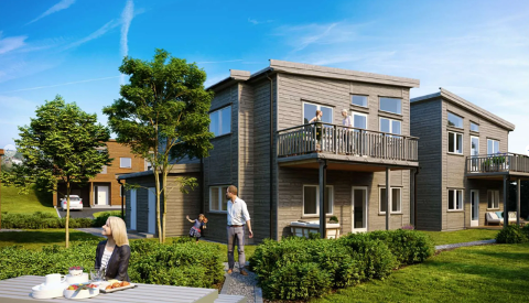 De nye boligene blir seende ut tilsvarende eksisterende bebyggelse. Illustrasjon: Obos Block Watne AS.