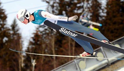 SATSER: Ole Kristian Baarset har fokus på å bli best mulig i hoppbakken og er glad for at han nå kan trene for fullt igjen. Foto: Svein Halvor Moe