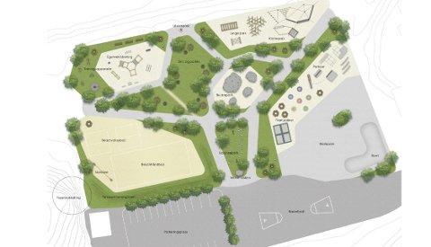 Tegningene: Slik ser de første tegningene av den planlagte livsløpsparken på Kalstad ut. Illustrasjon: Aktiv Park