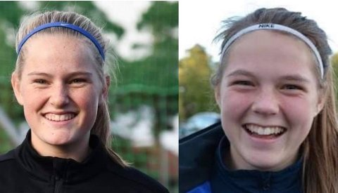 FOTBALLTALENTER: Ella Isaksen Opkvitne (t.v.) og Milla Baumeler Isaksen er tatt ut til henholdsvis landslaget og skyggelaget. Arkivfoto: Jeanette Brubakken / Per Eckholdt