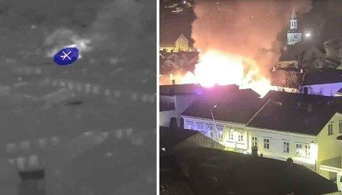 Varmesøkende kamera i Risør oppdaget sannsynligvis brannen i trehusbebyggelsen onsdag morgen. Varmesøkende kamera står på brannsikringsplanen i Kragerø.