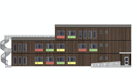 SKISSE: Slik ser Lier Eiendomsselskap at det nye administrasjonsbygget på Bilbo kan bli seende ut. – Kommunen bør ha som målsetting å bygge noe penere formålsbygg, sier Aps Bård Strand.