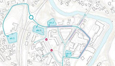 Parkeringshus: Norconsult foreslår disse fire lokasjonene som alternativer for et nytt parkeringshus i Lierbyen.