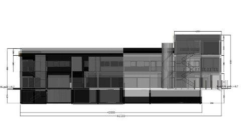 Slik vil fasaden se ut, ifølge tegninga som følger nabovarselet.