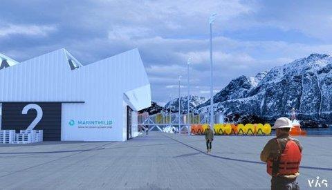 Slik kan det nye testsenteret på Fiskebøl bli. Foto: Våg Arkitektur AS