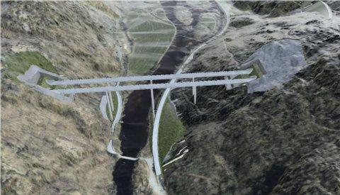 MASSE: Kryssingen av Lygna med tunneler på hver side vil gi store mengder masse – 30 000 lastebillass –  som skal deponeres ved Foss.
