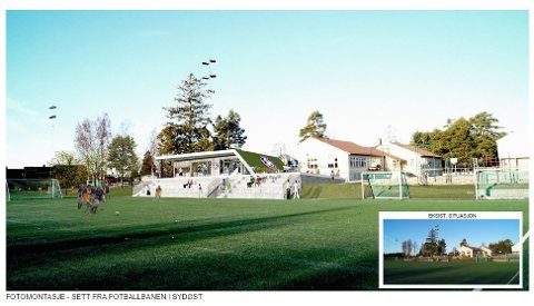 NYTT KLUBBHUS: Slik er det nye klubbhuset til Ekholt BK planlagt å se ut. Noen små justeringer er imidlertid gjort siden tegningen ble laget i 2019. Foto: Arkitekttegning