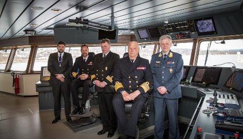 MARJATA: Kong Harald og kronprins Haakon inspiserte i onsdag forsvarets nye etterretningsskip Marjata som lå til kai i Horten.